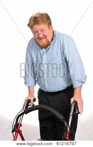 Happy Disabled Man Using Walker