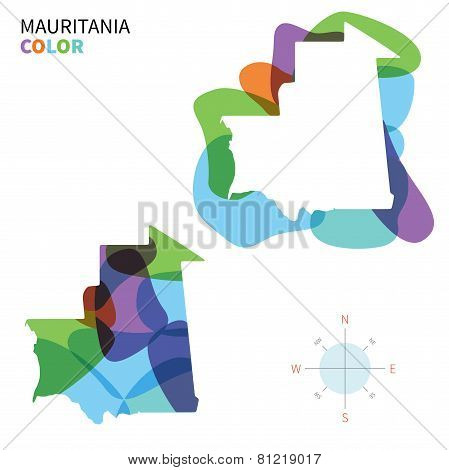 Abstract vector color map of Mauritania with transparent paint effect.