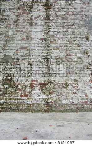Dirty getragen gemalten weiß Factory Ziegelmauer mit einigen moss