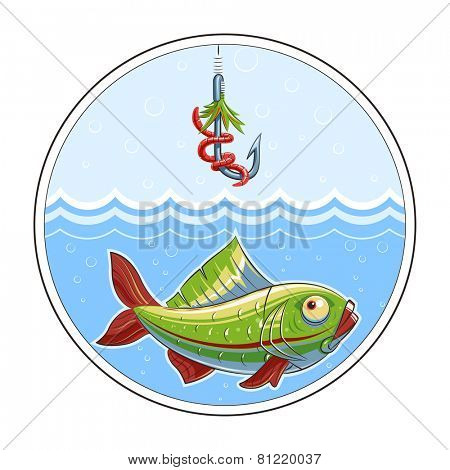 Fishing. Fish in water and fishhook. Eps10 vector illustration. Isolated on white background