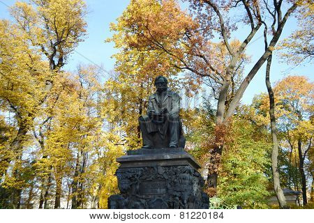 Krylov Monument In Summer Garden.