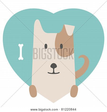 Animal set. Portrait of a dog in love in flat graphics
