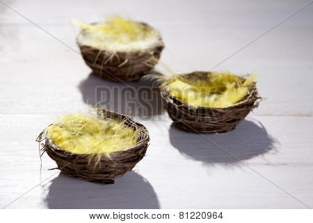 Easter Basket Nest With Yellow Feather