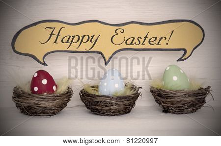 Spotlight To Three Colorful Easter Eggs With Comic Speech Balloon Happy Easter