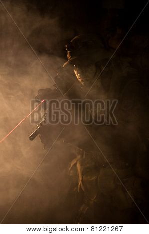 Jagdkommando in the smoke and fire