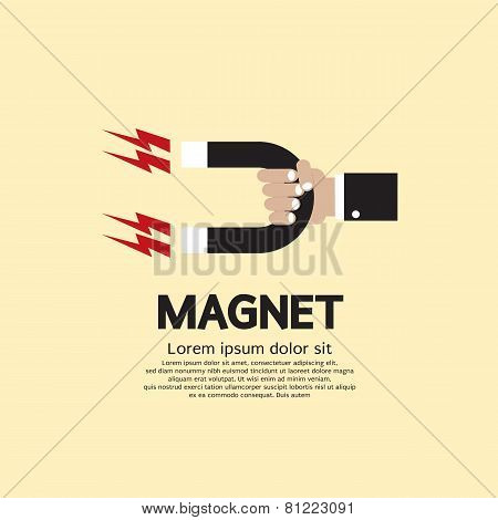 Hand Holding A Magnet.