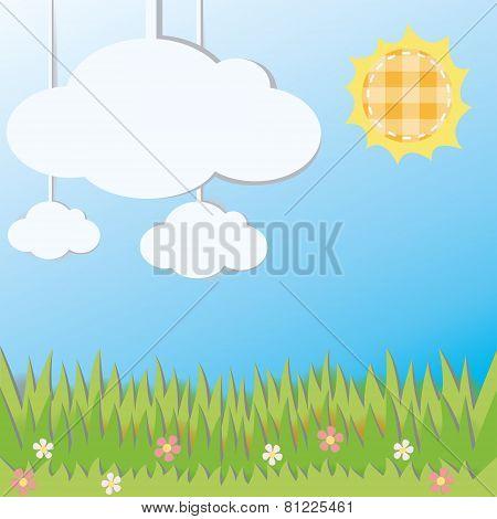 Sunny Field Landscape Decoration Cardboard Card, Create By Vector