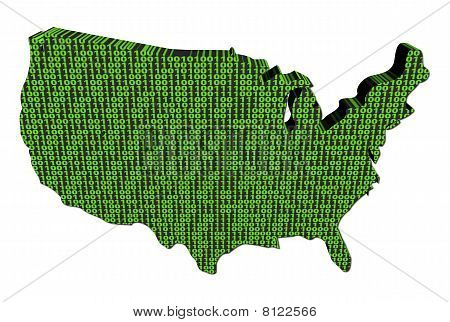 Usa Map With Binary Code Illustration