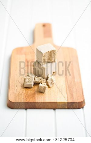fresh yeast on cutting board