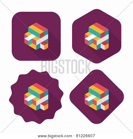 Toy Cube Flat Icon With Long Shadow,eps10