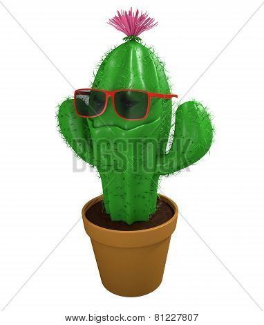 Cool cactus man houseplant with trendy sunglasses and a big grin