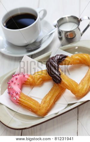 homemade heart shape churro, valentines day dessert