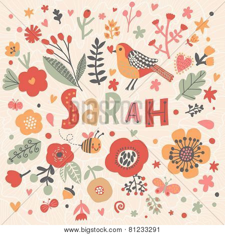 Bright card with beautiful name Sarah in poppy flowers, bees and butterflies. Awesome female name design in bright colors. Tremendous vector background for fabulous designs