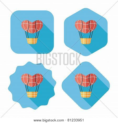 Valentine's Day Hot Air Ballon Flat Icon With Long Shadow