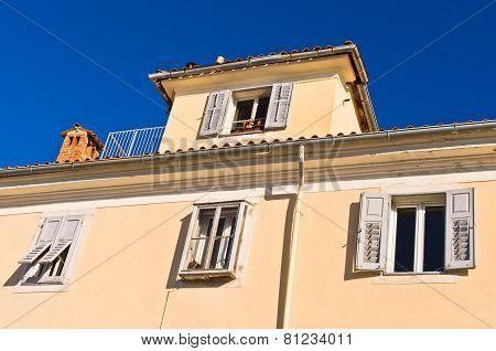 Colorful architecture at harbor of Piran, small coastal town in Istria