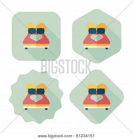 Valentine's Day Lover Bed Flat Icon With Long Shadow,