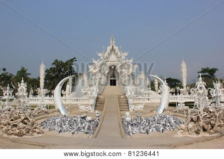 Wat Rong Khun Or White Temple, A Contemporary Unconventional Buddhist Temple In Chiangrai, Thailand