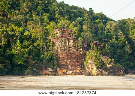 Lush jungle and big cliff near sand beach