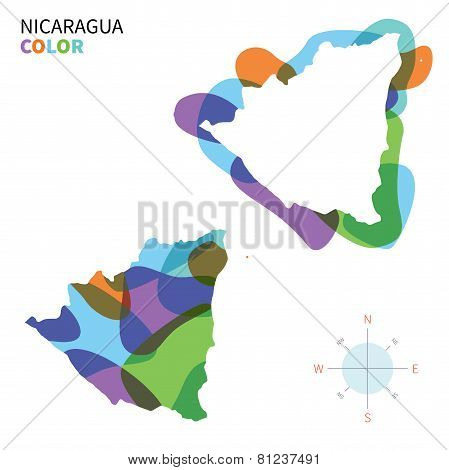 Abstract vector color map of Nicaragua with transparent paint effect.