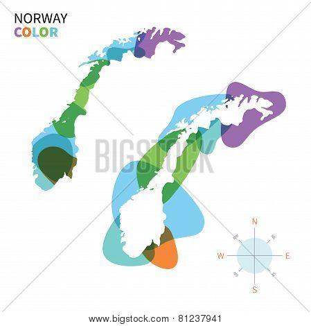 Abstract vector color map of Norway with transparent paint effect.