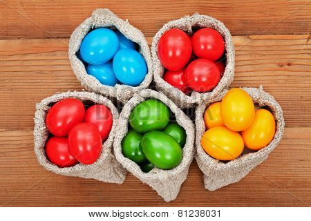 Easter Eggs In Burlap Bags