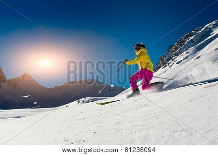 Girl Makes Skiing In Telemark