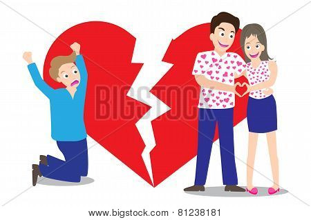Sad Man Seeing Love Couple With Broken Heart Shape Background In Concept Of Being Broken Heart