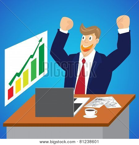 Illustration Of Cheering Businessman For Stock Market At His Desk