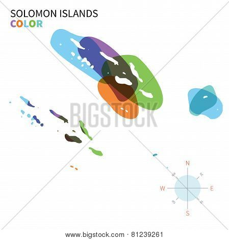 Abstract vector color map of Solomon Islands with transparent paint effect.