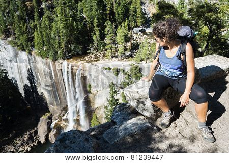 Hiker Resting And Admiring The Scenery