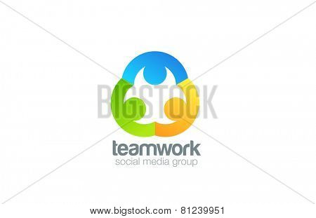 Social Logo design vector template. Teamwork logotype. Family concept icon. Friendship, Partnership, Community idea.