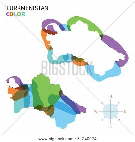 Abstract vector color map of Turkmenistan with transparent paint effect.