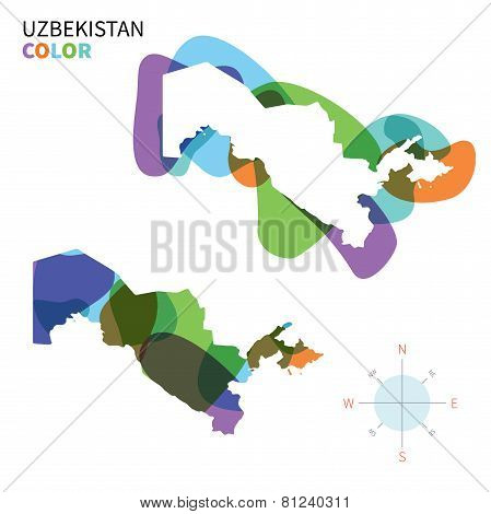 Abstract vector color map of Uzbekistan with transparent paint effect.