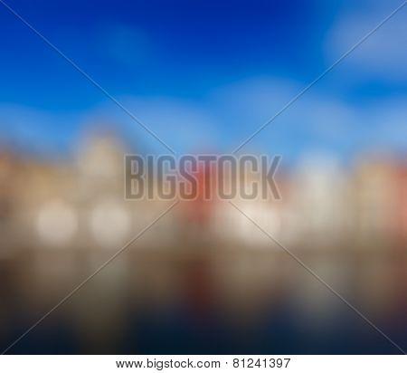 Blurred defocused background of European town. Bruges (Brugge), Belgium