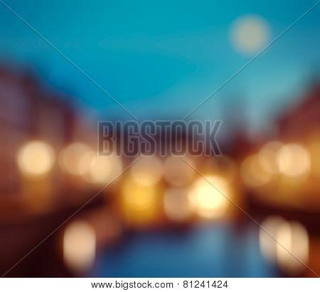 Befocused blurred background of European city Bruges (Brugge), Belgium in evening
