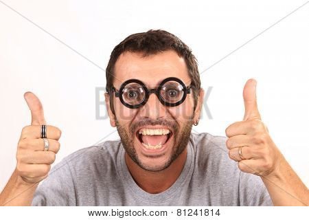 crazy man with funny glasses
