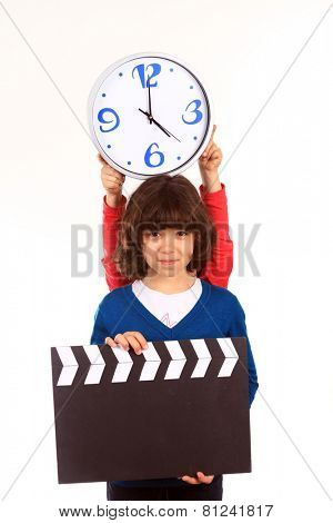 girl with a clapperboard
