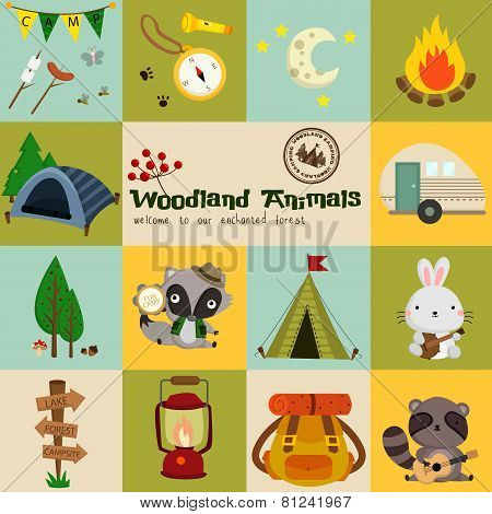 Square Woodland Animal Camping Vector Set