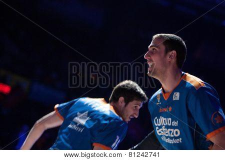 VALENCIA, SPAIN - JANUARY 24: Pablo Aguilar (R) during Spanish League match between Valencia Basket Club and UCAM Murcia at Fonteta Stadium on January 24, 2015 in Valencia, Spain