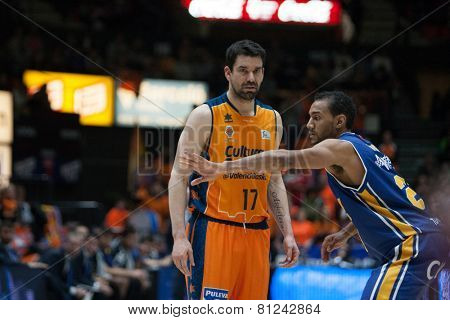 VALENCIA, SPAIN - JANUARY 24: Martinez 17 and Rojas during Spanish League match between Valencia Basket Club and UCAM Murcia at Fonteta Stadium on January 24, 2015 in Valencia, Spain
