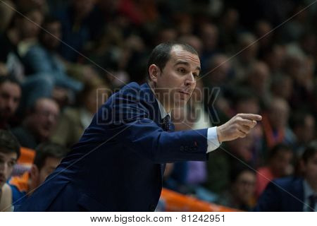 VALENCIA, SPAIN - JANUARY 24: Carles Duran during Spanish League match between Valencia Basket Club and UCAM Murcia at Fonteta Stadium on January 24, 2015 in Valencia, Spain