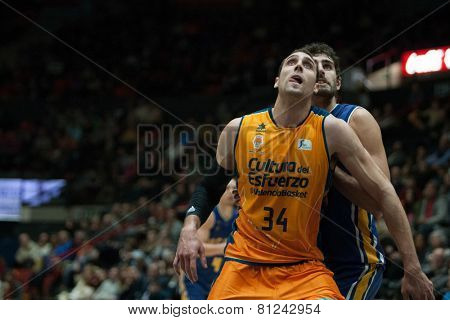 VALENCIA, SPAIN - JANUARY 24: Aguilar in front during Spanish League match between Valencia Basket Club and UCAM Murcia at Fonteta Stadium on January 24, 2015 in Valencia, Spain
