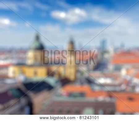 European city blurred defocused background-  Munich over Theatine Church of St. Cajetan (Theatinerkirche St. Kajetan) and Odeonplatz, Munich, Bavaria, Germany