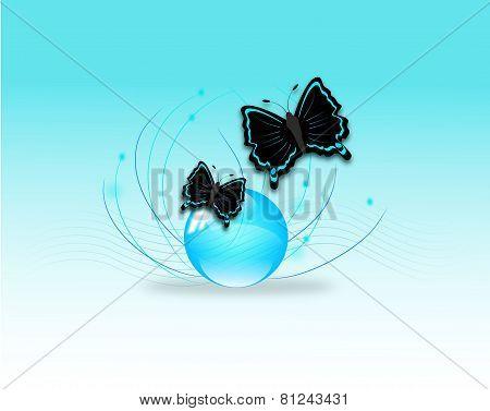 Two Butterflies On Glass Ball