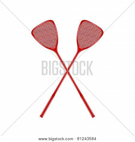 Two crossed fly swatters
