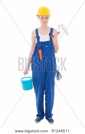Beautiful Woman Painter In Workwear With Paintbrush And Bucket Isolated On White