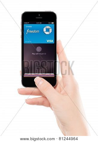 Touch Id Apple Pay Technology In Apple Space Gray Iphone 5S In Female Hand, Designed By Apple Inc