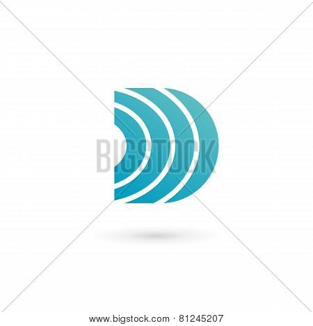 Letter D Wireless Logo Icon Design Template Elements