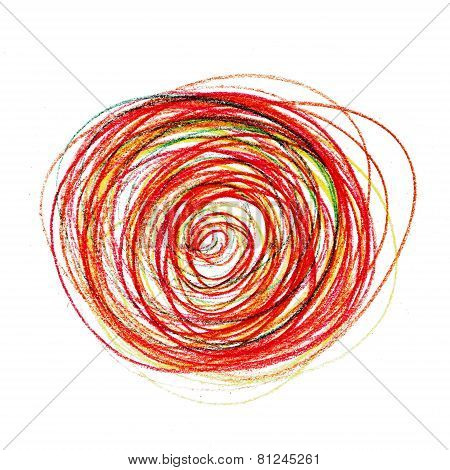 abstract red painting colored circles texture pencil line