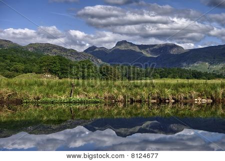 Langdale Pikes Reflected In River